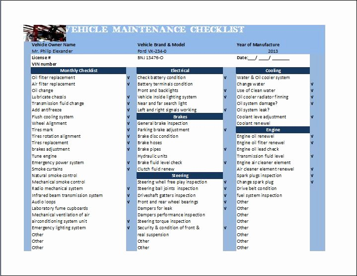 Vehicle Maintenance Checklist Template Lovely General Vehicle Maintenance Checklist Template