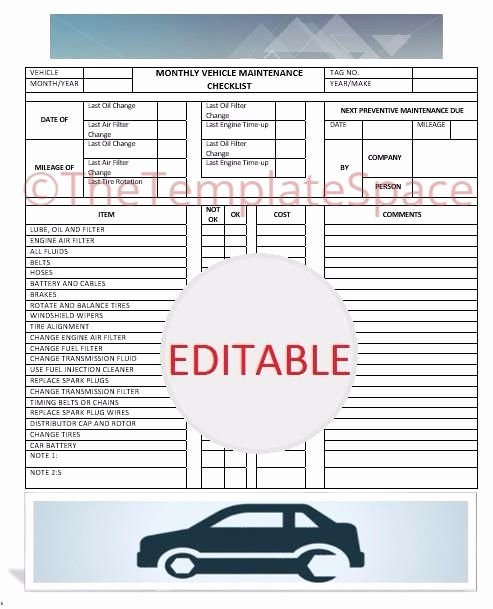 Vehicle Maintenance Checklist Template New Editable Monthly Vehicle Maintenance Checklist Printable