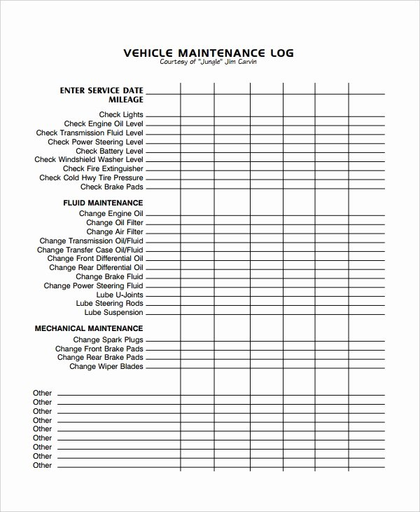 Vehicle Maintenance Log Template Beautiful Maintenance Log Template 11 Free Word Excel Pdf