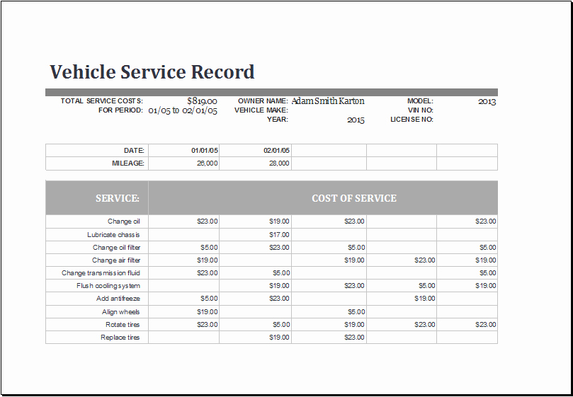 Vehicle Maintenance Log Template Beautiful Ms Excel Vehicle Service Record Log Template