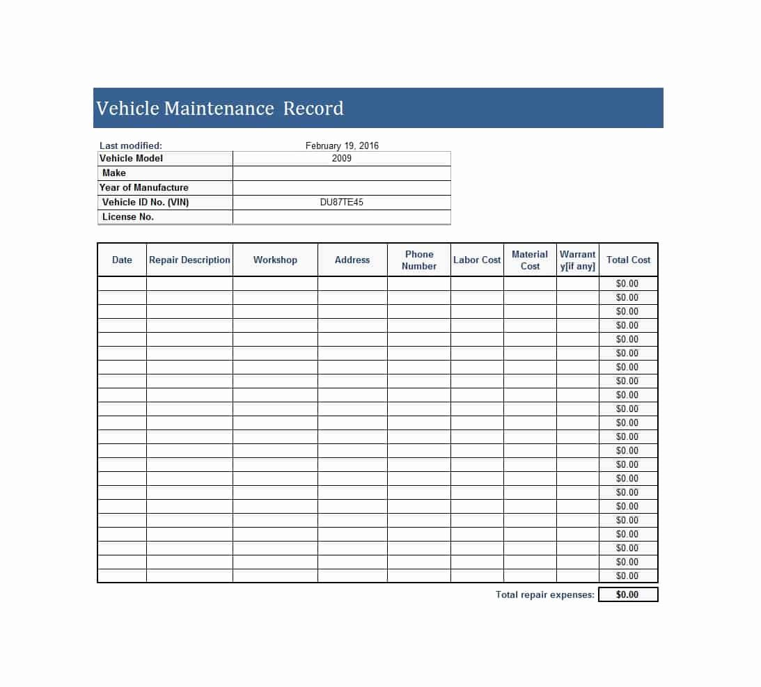 Vehicle Maintenance Log Template Elegant 40 Printable Vehicle Maintenance Log Templates Template Lab