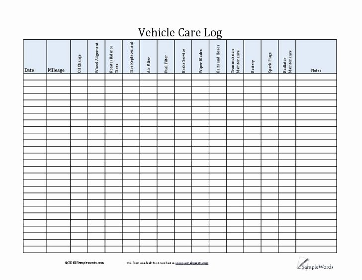 Vehicle Maintenance Log Template Inspirational Car Maintenance Log Template Ewolf software