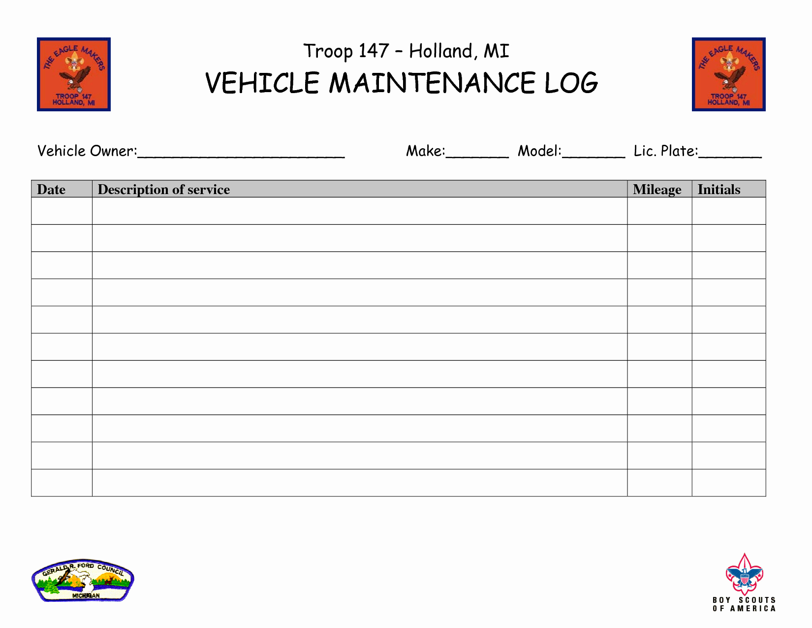 Vehicle Maintenance Log Template Lovely Car Maintenance Log Template