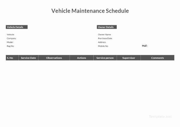 Vehicle Maintenance Schedule Template Best Of Maintenance Schedule Templates 35 Free Word Excel Pdf