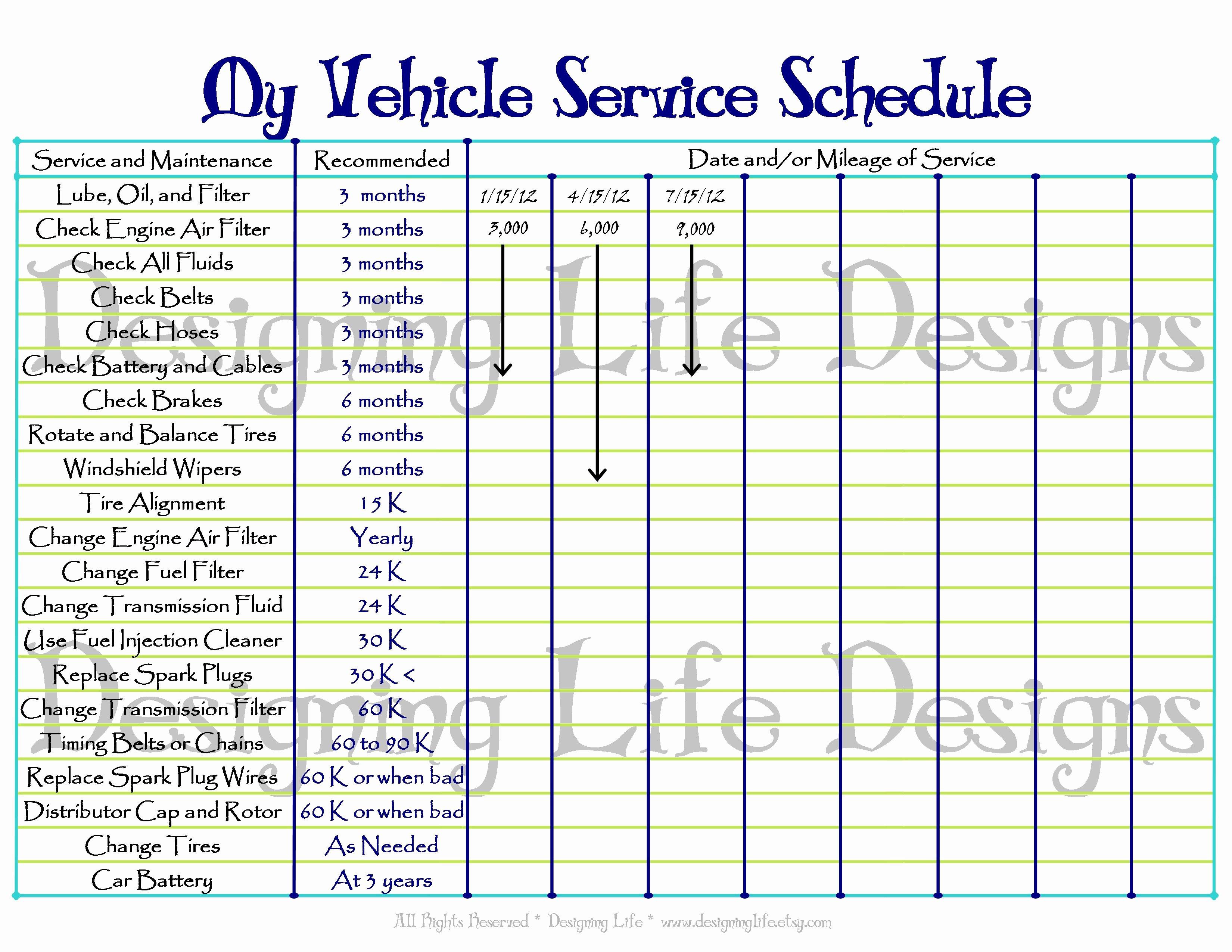 Vehicle Maintenance Schedule Template Inspirational Car Maintenance Mileage Checklist