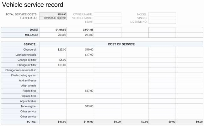 Vehicle Maintenance Schedule Template Lovely Printable Vehicle Maintenance Log Templates