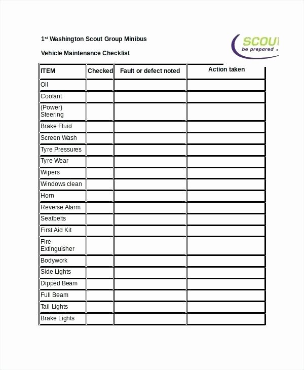 Vehicle Maintenance Schedule Template Lovely Vehicle Maintenance Checklist Excel Vehicle Maintenance