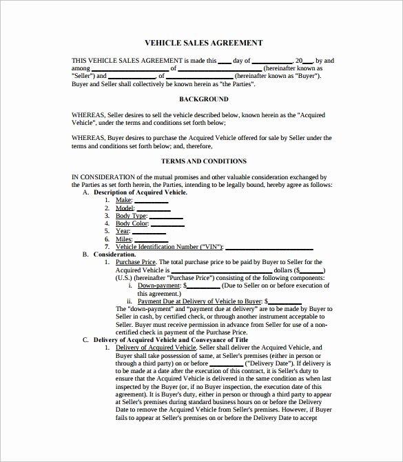 Vehicle Purchase Agreement Template Awesome Sales Agreement 10 Download Free Documents In Word Pdf