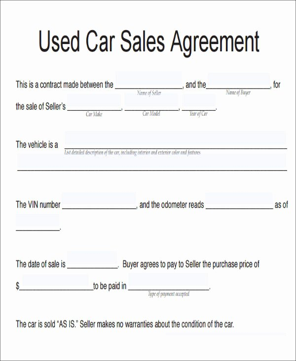 Vehicle Purchase Agreement Template Beautiful 11 Vehicle Sales Agreement Samples Free Word Pdf