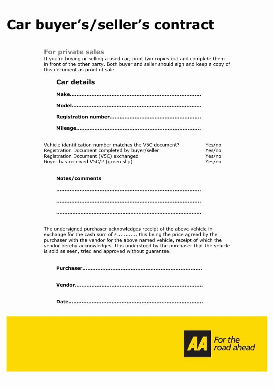 Vehicle Purchase Agreement Template Beautiful 42 Printable Vehicle Purchase Agreement Templates