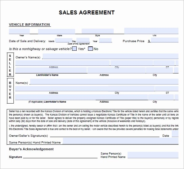 Vehicle Purchase Agreement Template Beautiful 6 Free Sales Agreement Templates Excel Pdf formats
