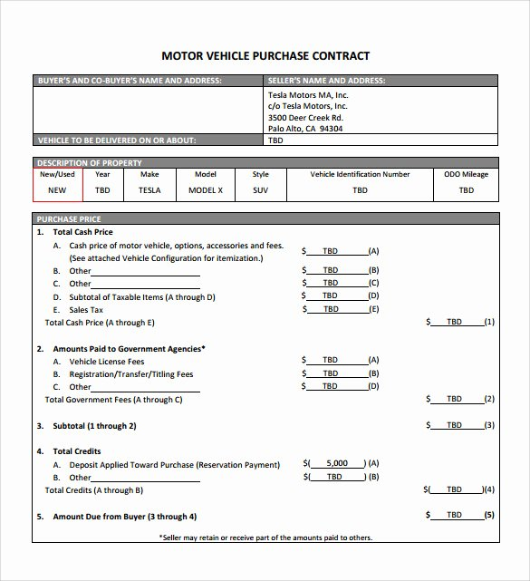 Vehicle Purchase Agreement Template Best Of 16 Sample Vehicle Purchase Agreements