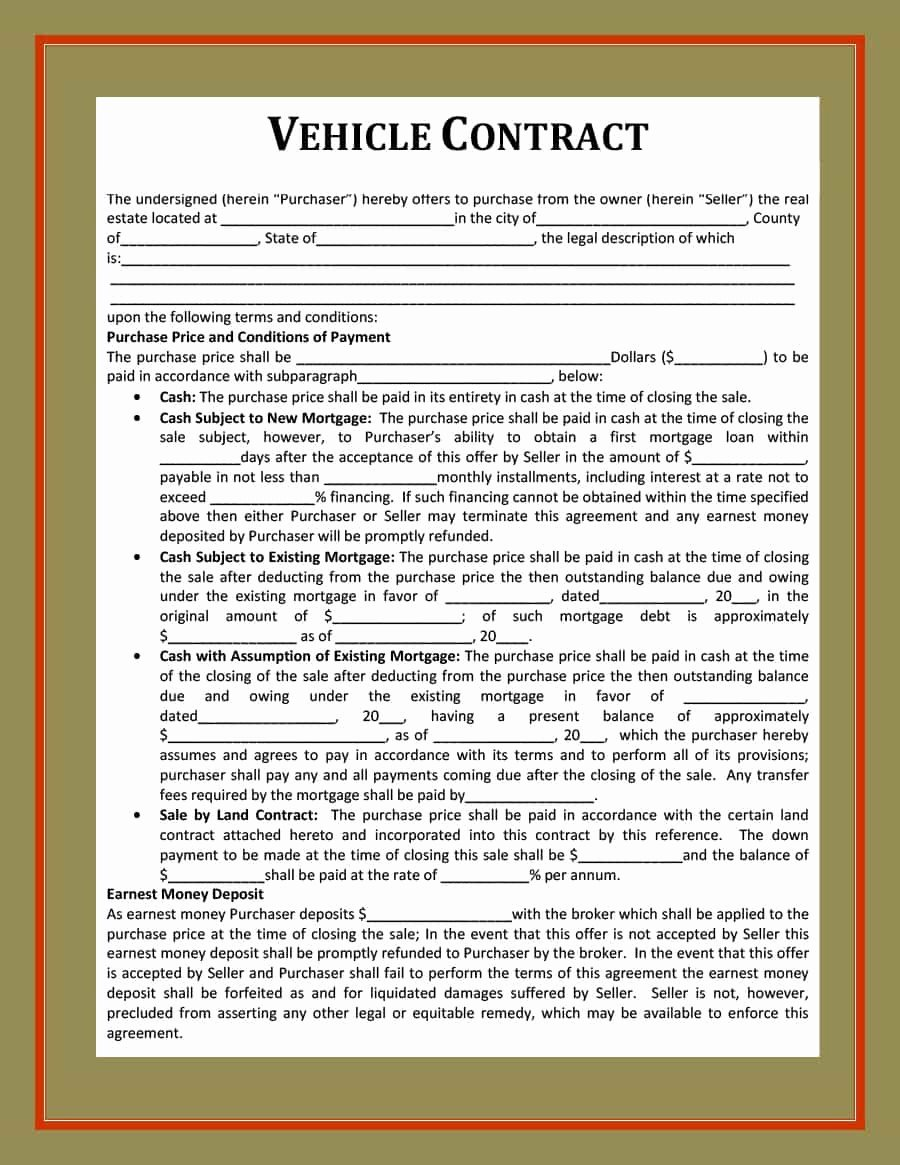 Vehicle Purchase Agreement Template Best Of 42 Printable Vehicle Purchase Agreement Templates