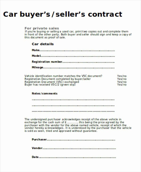 Vehicle Purchase Agreement Template Luxury Sample Car Sales Contract 12 Examples In Word Pdf
