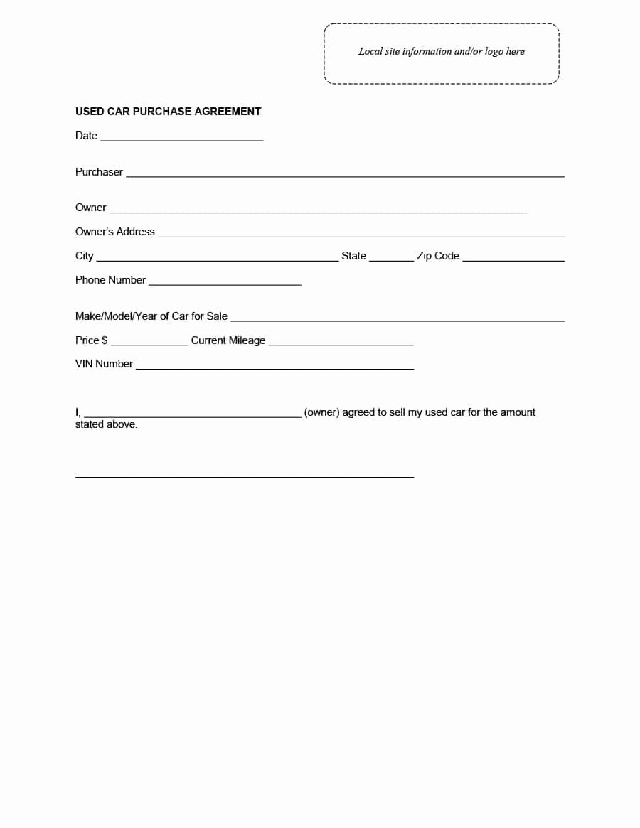 Vehicle Purchase Agreement Template New 42 Printable Vehicle Purchase Agreement Templates