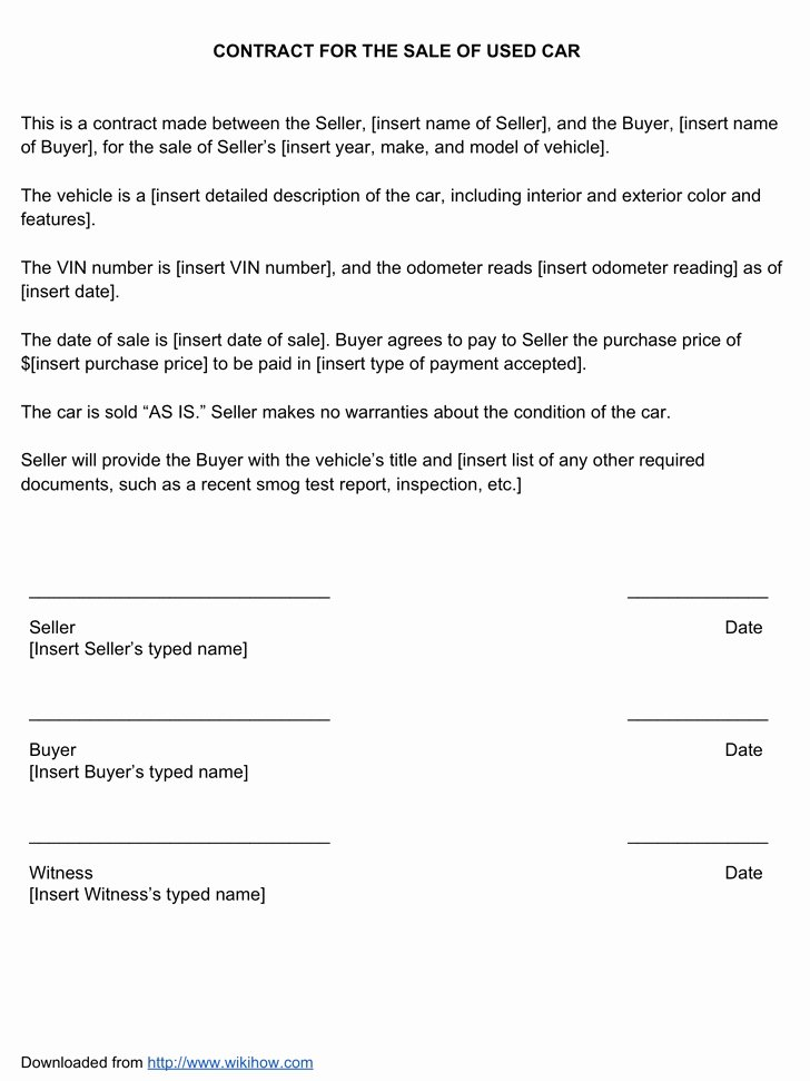 Vehicle Purchase Agreement Template New Vehicle Sale Agreement Template Quick Download Used Car