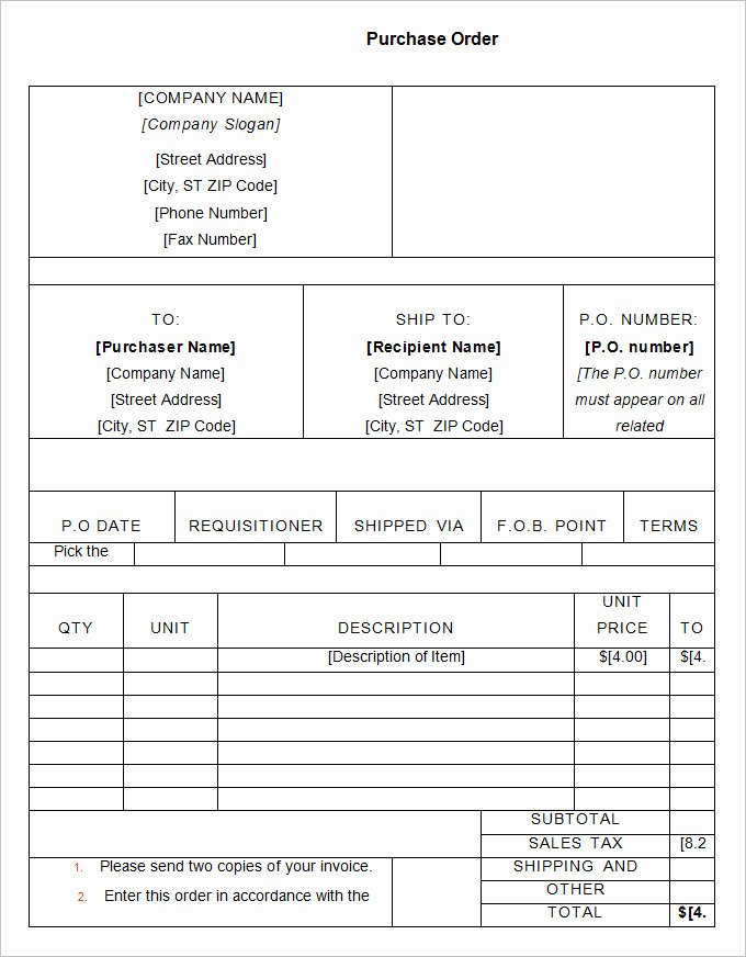Vehicle Purchase order Template Beautiful 34 Purchase order Examples Pdf Doc