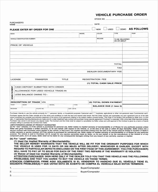 Vehicle Purchase order Template Best Of 12 Purchase order Samples