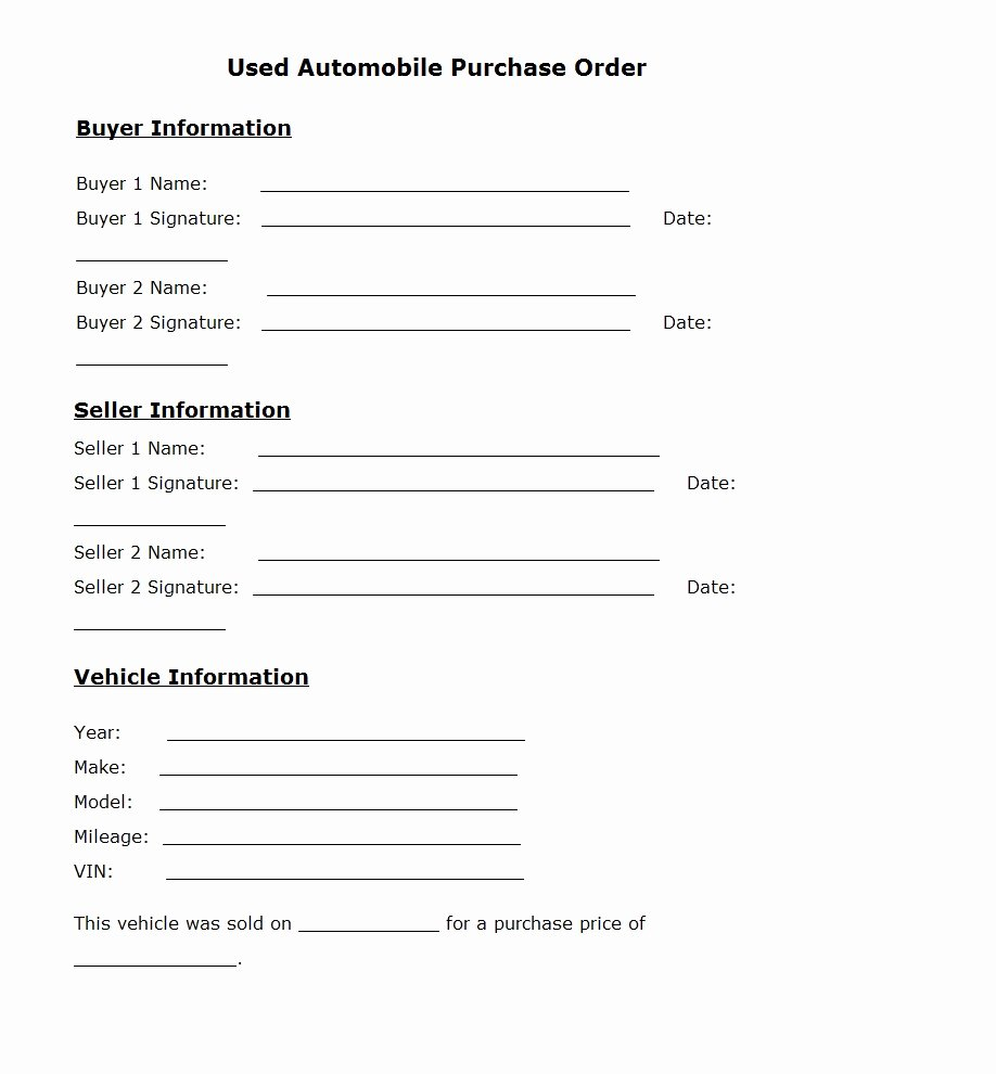 Vehicle Purchase order Template Lovely Used Car Purchase order Template Sample