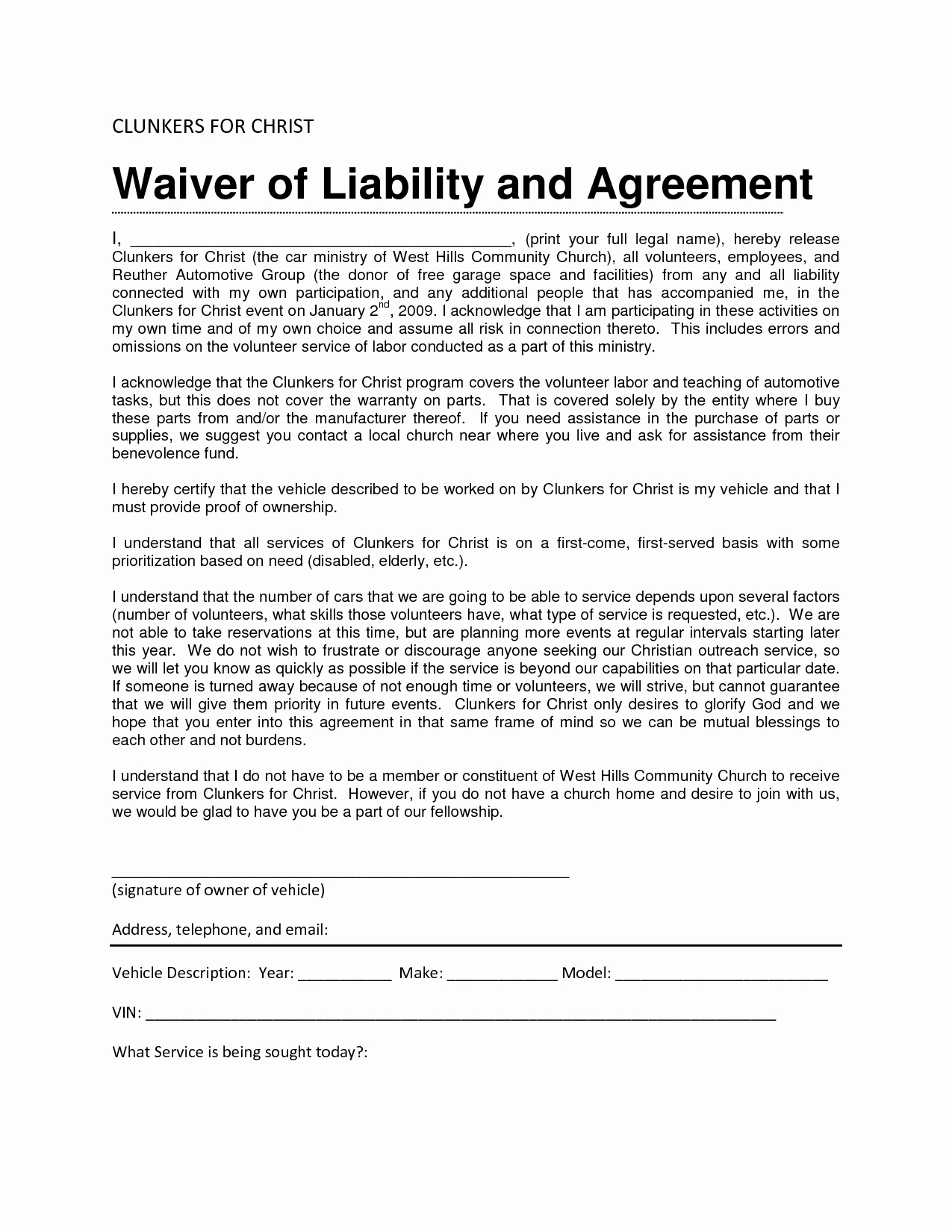 Vehicle Release form Template Best Of Liability Waiver Sample Bamboodownunder