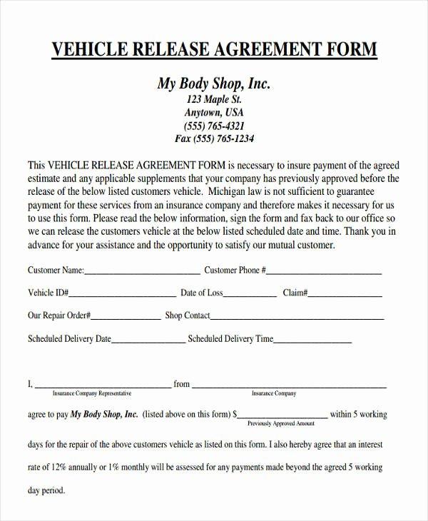 Vehicle Release form Template Elegant 38 Agreement form Samples