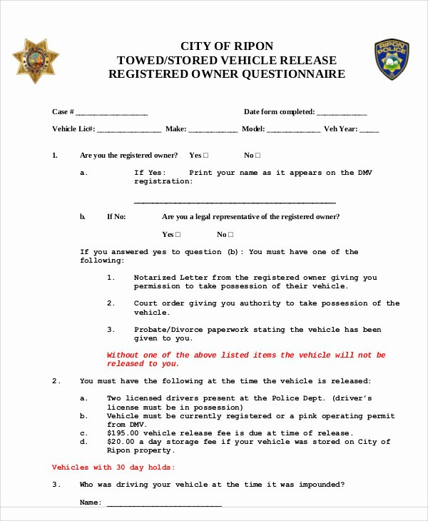 Vehicle Release form Template Elegant Sample Vehicle Release form 9 Examples In Word Pdf