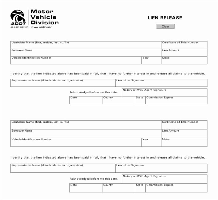 Vehicle Release form Template Fresh Auto Lien Release Letter Template Vehicle Lien form
