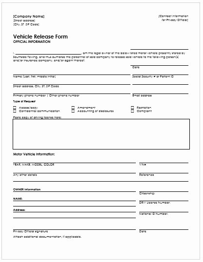Vehicle Release form Template Lovely Vehicle Release form Template – Versatolelive