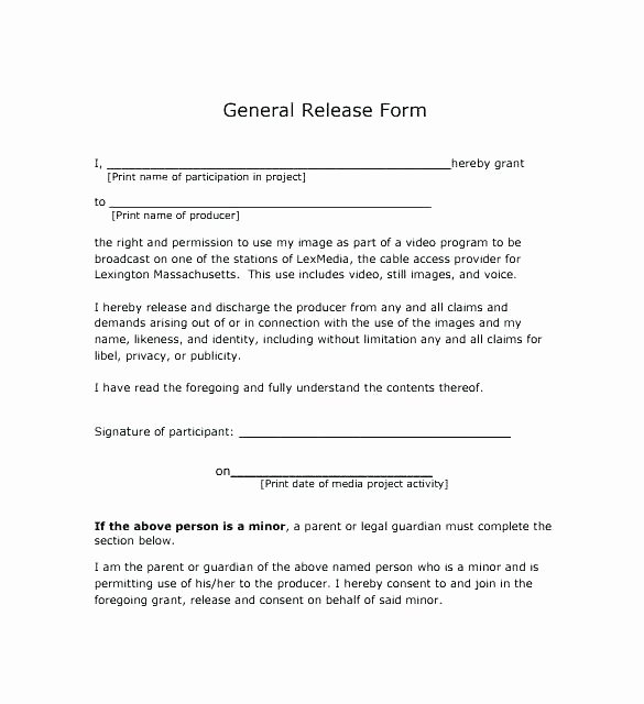 Vehicle Release form Template New Waiver Liability and Hold Harmless Agreement Template