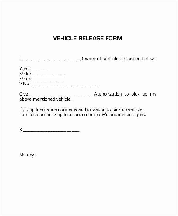 Vehicle Release form Template Unique Sample Vehicle Release form 9 Examples In Word Pdf