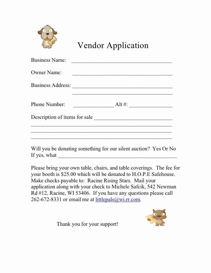Vendor Application form Template Beautiful form for 2009 Vendor Application