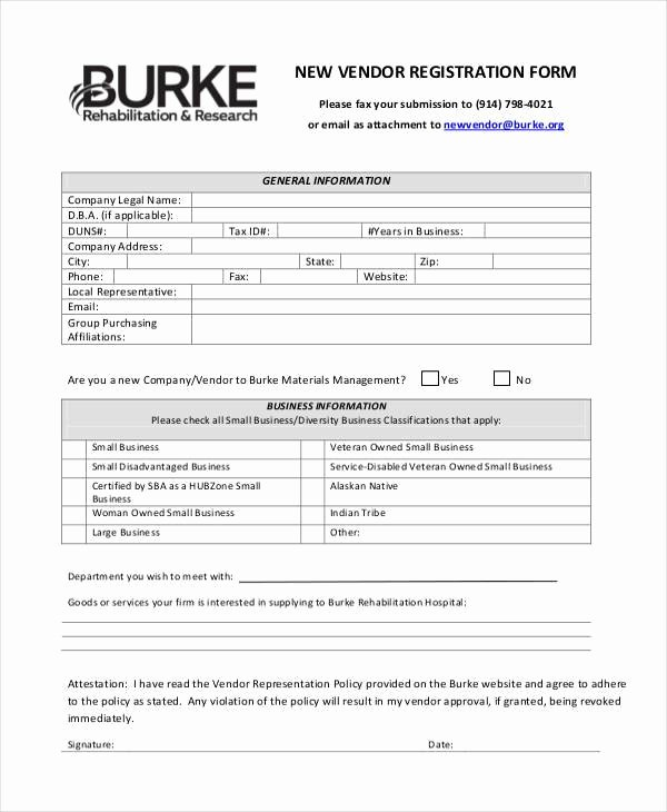 Vendor Application form Template Best Of Registration form Templates