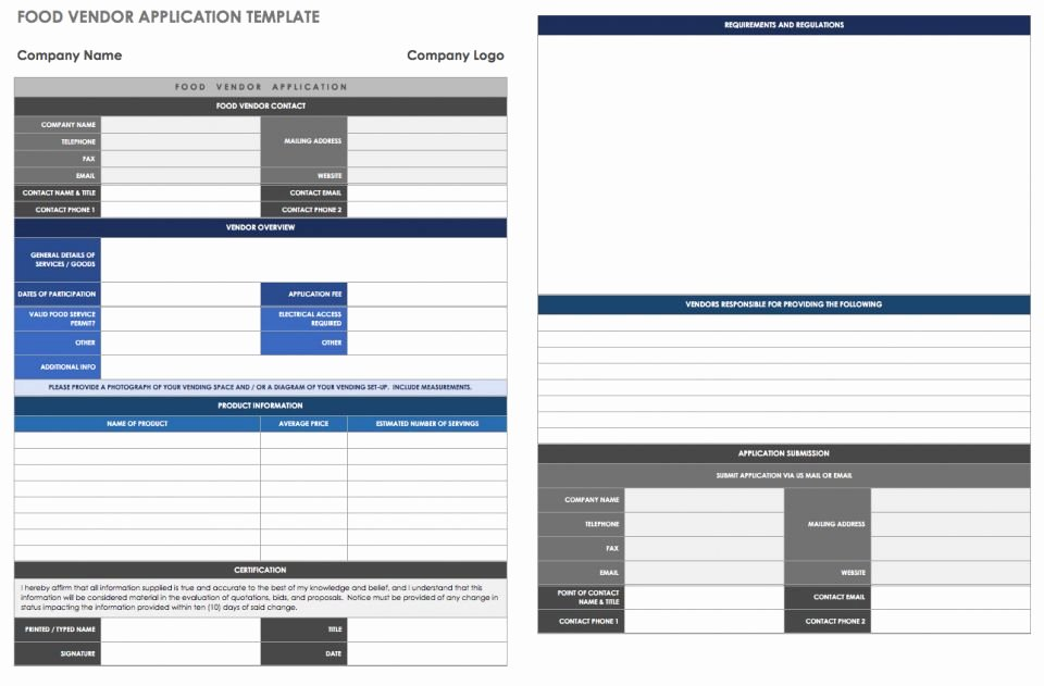 Vendor Application form Template Inspirational 13 Free Vendor Templates