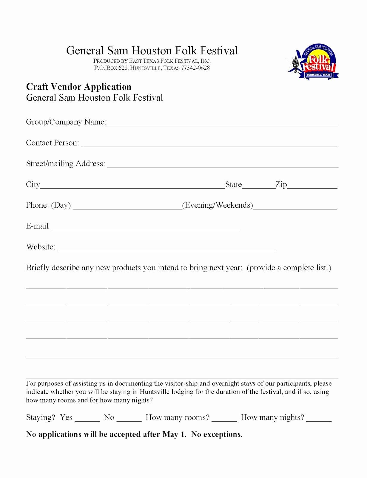 Vendor Application form Template Unique General Sam Houston Folk Festival Craft Vendor Application