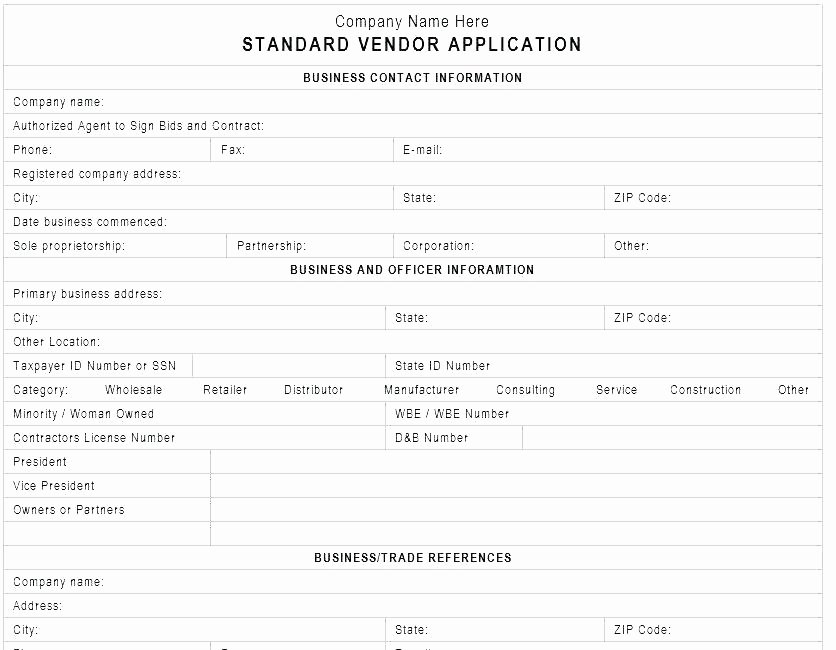 Vendor Information form Template Beautiful New Customer Application form Template – Ddmoon