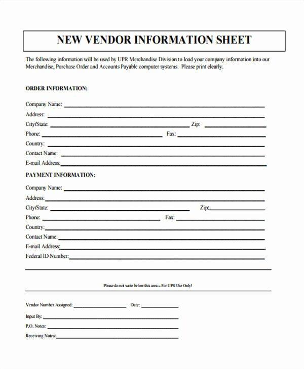 Vendor Information form Template Best Of 46 Information Sheet Samples