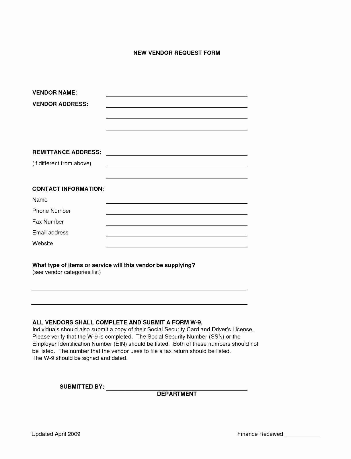 Vendor Information form Template Elegant 10 New Vendor form Template Yruat