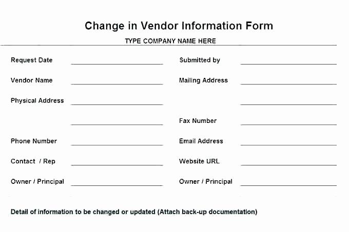 vendor information form template excel