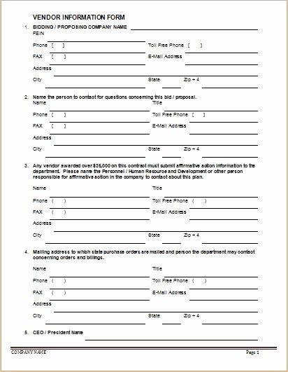 Vendor Information form Template Fresh Vendor Information forms & Sample Template