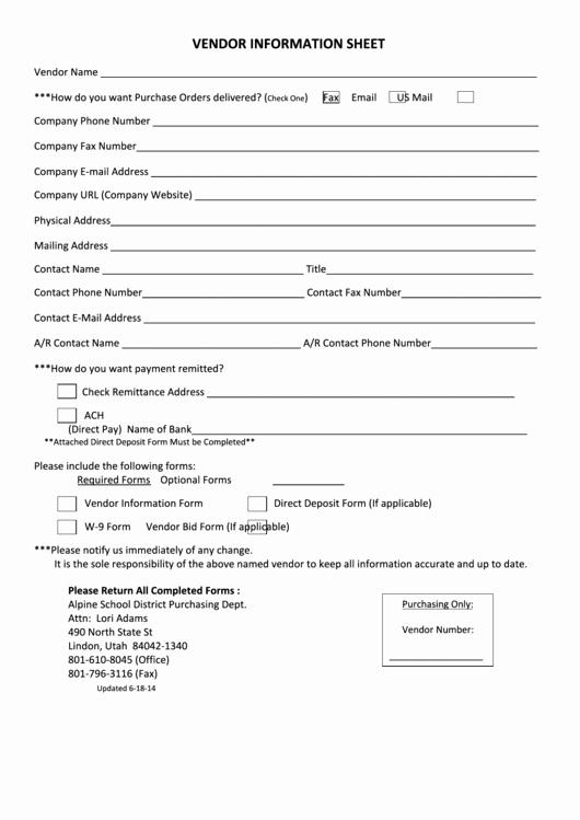 Vendor Information form Template Lovely Vendor Information Sheet Alpine School District