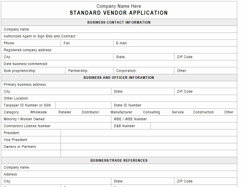 Vendor Registration form Template Awesome Supplier Registration form 2015