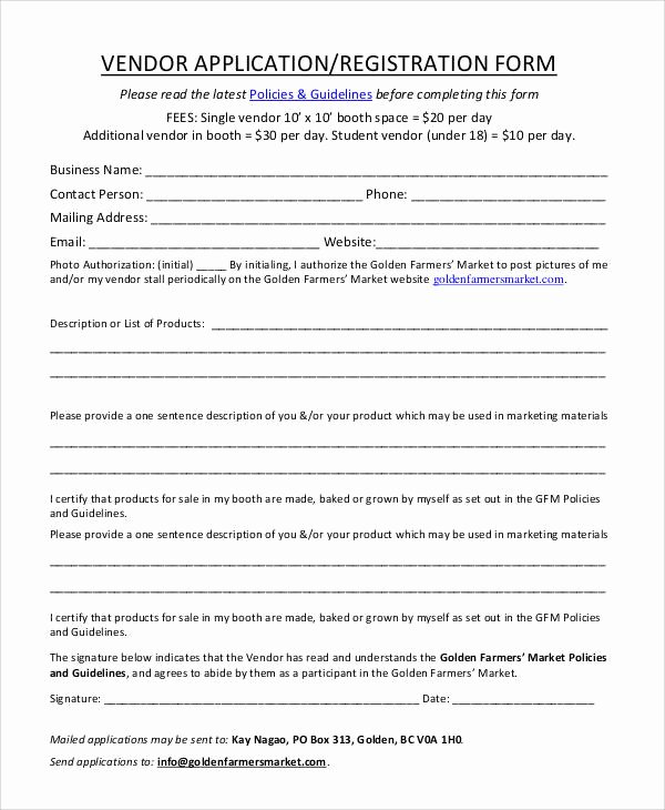 Vendor Registration form Template Beautiful 61 Simple Application forms & Templates