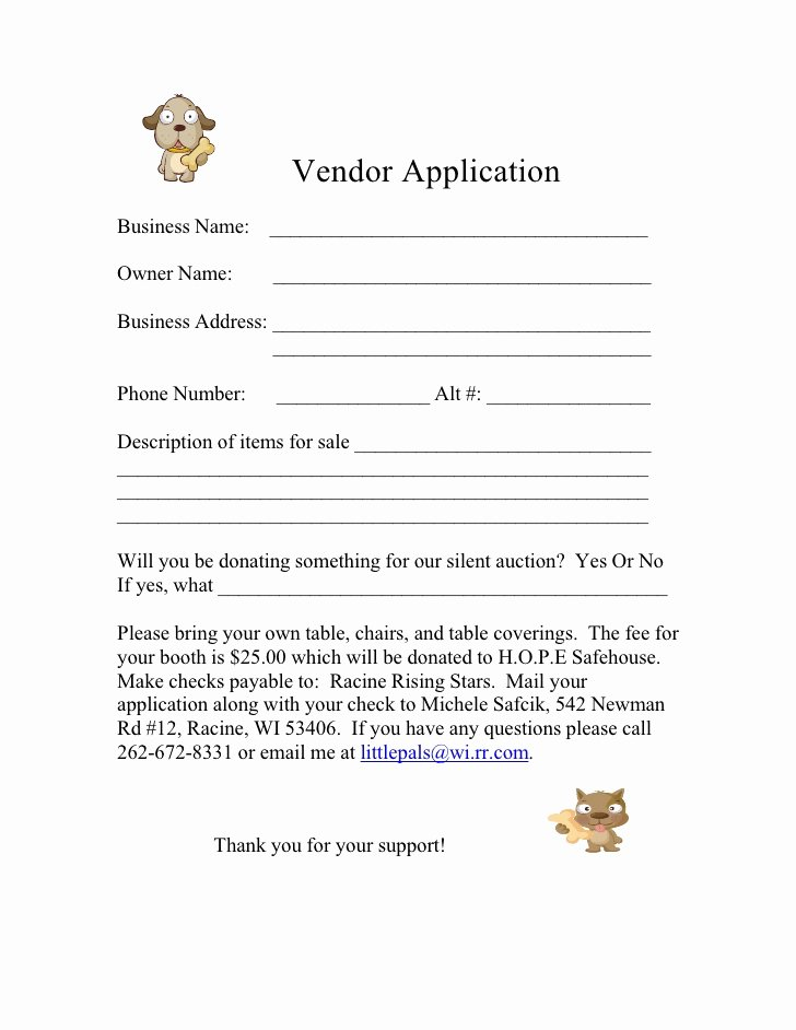 Vendor Registration form Template Beautiful form for 2009 Vendor Application