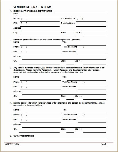 Vendor Registration form Template Elegant Vendor Information forms & Sample Template