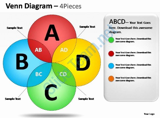 Venn Diagram Powerpoint Template Fresh Venn Diagram 4 Pieces Powerpoint Presentation Slides