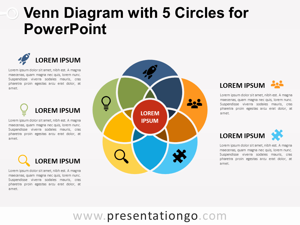 Venn Diagram Powerpoint Template Luxury Venn Diagram with 5 Circles for Powerpoint