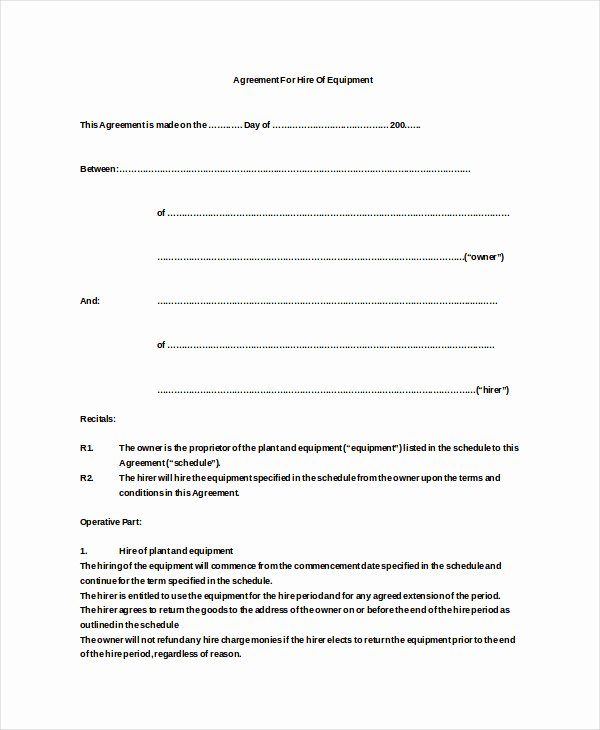 Venue Rental Agreement Template Awesome Equipment Hire Terms and Conditions Template Venue Rental