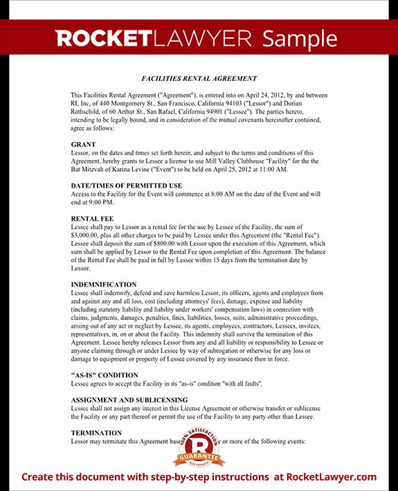 Venue Rental Agreement Template Beautiful event Rental Agreement Template Facilities Rental Agreement