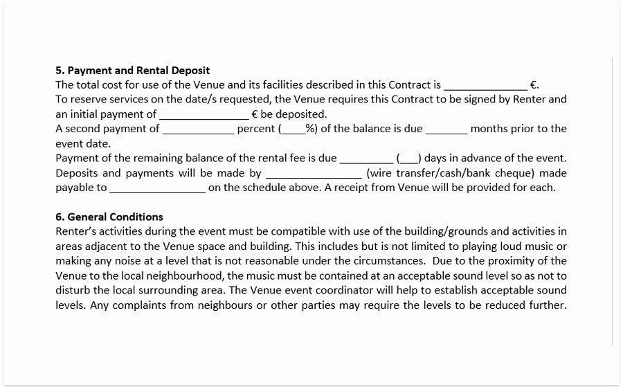 Venue Rental Agreement Template Best Of event Venue Contract Template A Free Pdf Venue