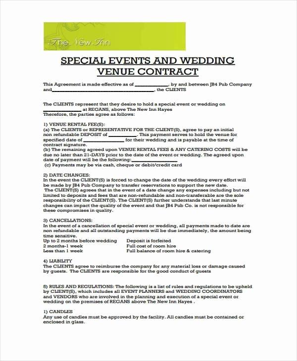 Venue Rental Agreement Template Elegant Wedding Venue Contract